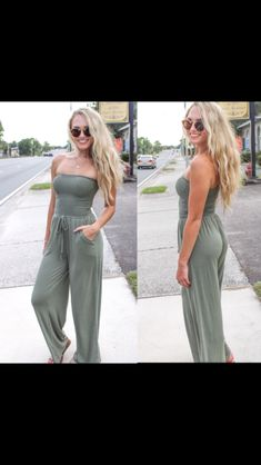 Sure Thing Jumpsuit – TheLand Boutique Olive Green Color, Green Colors, Sun Hats, Latest Fashion, Summer Outfits, Jumpsuit, Boutique, Pretty, How To Wear