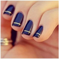 French (twist) manicure: Gold pinstripe on black or navy nails -SCM (If anyone knows the original image source, LMK!)