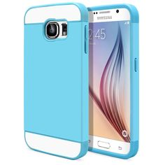 Galaxy S6 Case, MagicMobile® Cute Ultra Slim Protective [Hybrid Impact] Hard Durable Thin TPU Cover for Samsung Galaxy S6 Case Armor Shell [ Baby Blue - Blue ] with Clear Screen Protector