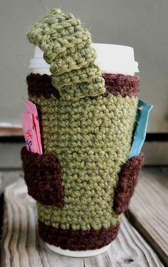 Ravelry: Coffee Is Life - crochet version pattern by Jen Zeyen--love the pockets Crochet Coffee Cozy, Coffee Cup Cozy, Crochet Cozy, Crochet Gifts, Free Crochet, Coffee Girl, Coffee Corner, Coffee Scrub, Coffee Creamer