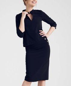 Look what I found on #zulily! Black Cutout Top & Pencil Skirt #zulilyfinds