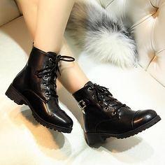 Zapatos de mujer - Tacón Bajo - Punta Redonda - Botas - Casual - Semicuero - Negro / Azul / Marrón / Amarillo 2017 - $34.99