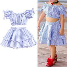 eab205aec6 2Pcs Plaid Toddler Girls Off Shoulder Top + Skirt Clothes Sets For 1Y-7Y