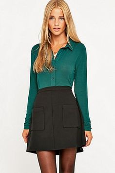 Urban Outfitters Ribbed Silky Shirt