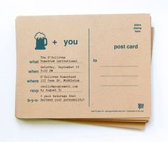 12 Beer Party Invite Postcards // free personalization and custom colors