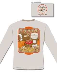 36d65f67a I Love Fall long sleeve tee includes all out favorite things about the fall  - football, pumpkins, candy applies and coffee! This shirt is printed on a  ...