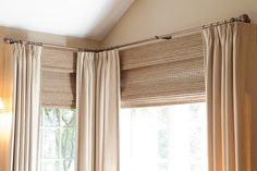 Good example of Woven Wood Blinds installed close to rod for a clean look, no wall to break up blinds and draperies