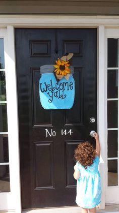 Mason Jar door sign on Etsy, $28.00