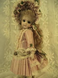 "11"" FRENCH DOLL DRESS SILK ANTIQUE LACE VICTORIAN STYLE DUSTY ROSE"