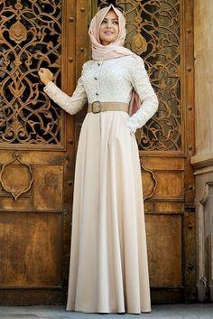 Pınar Şems Somon Güpürlü Elbise
