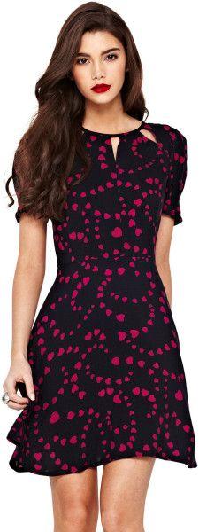 Ax Paris Pink Ax Paris Heart Print Skater Dress Skater Style d3b47959d