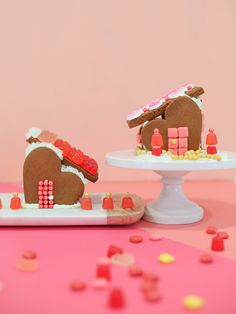 Gingerbread Heart Houses for Valentine's Day. Create a sweet gingerbread village with (or for!) your Valentine. These little houses are easy to make from scratch!