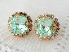 Mint crystal earrings mint crystal studsClear by EldorTinaJewelry