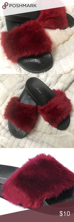 Women's Fur Slides BURGUNDY HOT STYLE! Women's Fur Slides BURGUNDY HOT STYLE! Shoes Slippers