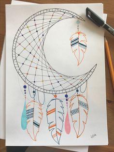 40 ideas tattoo ideas moon dream catchers for 2019 Cool Art Drawings, Pencil Art Drawings, Art Drawings Sketches, Easy Drawings, Bullet Journal Ideas Pages, Bullet Journal Inspiration, Dream Catcher Drawing, Dream Catchers, Dream Drawing
