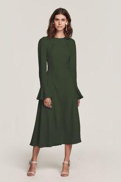 894acaf54cdb Yahvi Olive Green Midi Dress - (Duplicate Imported from WooCommerce) Below  The Knee Dresses