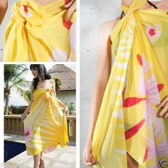 Women-Yellow-Plant-Floral-Pareo-Dress-Sarong-Beach-Cover-Up-Bikini-Swimwear-Wrap