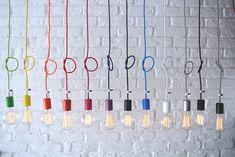Lampy wiszące kolorowe kable na www.sklep.imindesign.pl