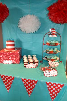 Cat in the Hat party dessert table!