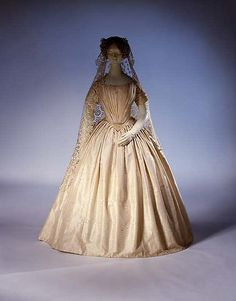 Wedding dress  Date: ca. 1844 Culture: probably French Medium: silk, cotton Accession Number: C.I.50.64.1