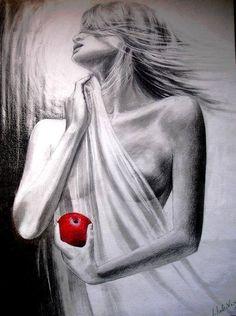 Rysunek ołówkiem, dziewczyna z jabłkiem