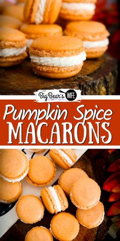 Pumpkin Spice Macarons - Ready for a homemade macaron that is perfect for Fall and Thanksgiving? This Pumpkin Spice Macarons has pumpkin spice in the cookie shell and is filled with a vanilla bean filling. Fall Dessert Recipes, Thanksgiving Desserts, Fall Desserts, Fall Recipes, Delicious Desserts, Gourmet Desserts, Gourmet Foods, Recipes Dinner, Drink Recipes