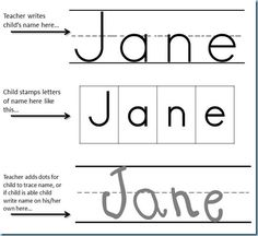 Preschool Printables -Name Stamping. I modified this by whiting out the top line and drawing in the middle line to make it solid, perfect for Handwriting Without Tears. I then laminate the page to use over and over. Kindergarten Names, Preschool Names, Name Activities, Preschool Curriculum, Preschool Printables, Preschool Learning, Preschool Ideas, Preschool Forms, Homeschooling