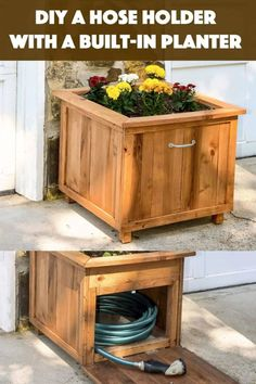 Build a unique hose holder using recycled pallet wood! This wooden holder has a special feature; you can plant your favorite flowers on top. I love it! Wood Planters, Planter Boxes, Cool Diy Projects, Home Projects, Wood Pallets, Pallet Wood, Hose Holder, Wire Management, Small Doors