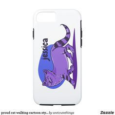 proud cat walking cartoon style funny illustration #iphone #iphonecase #cartoon #cats #catlovers #funny
