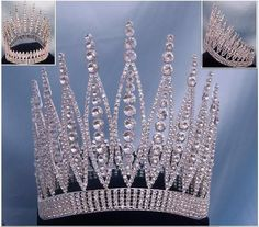 Queen Of The 7 Seas Rhinestone Beauty Pageant Full Silver Crown