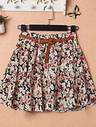 Women's Print  Pleated Belt Fashion Skirts – USD $ 9.99