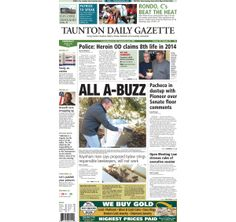 The front page of the Taunton Gazette for Thursday, March 20, 2014.