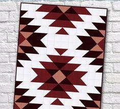Modern Southwest Quilt Patterns - Sew What, Alicia? Modern Quilt Patterns, Quilt Patterns Free, Aztec Patterns, Simple Quilt Pattern, Quilt Baby, Twin Quilt, Southwestern Quilts, Motifs Aztèques, Geometric Quilt