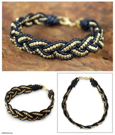 leather and gold bead bracelet