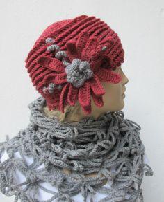 CROCHETBUTTERFLY Knitting Crochet Handmade Bridal Wedding Shawls Boleros Shrugs Wraps Patterns: Hat and Shawl Scarf Set Hand crocheted Grey Dusty Pink