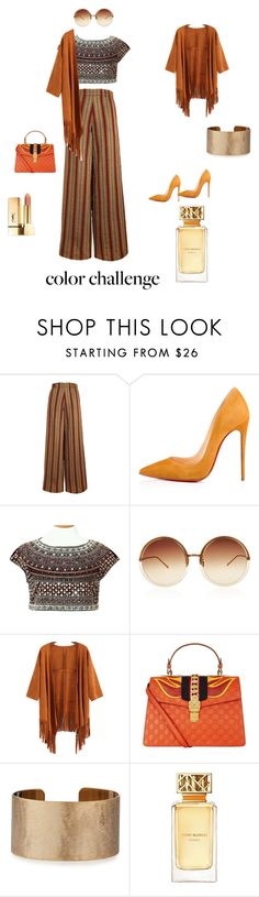 """""""ORANGE"""" by sarah-bery ❤ liked on Polyvore featuring The Bee's Sneeze, Christian Louboutin, Zara, Linda Farrow, Gucci, Panacea, Tory Burch, orangeandblack and colorchallenge"""
