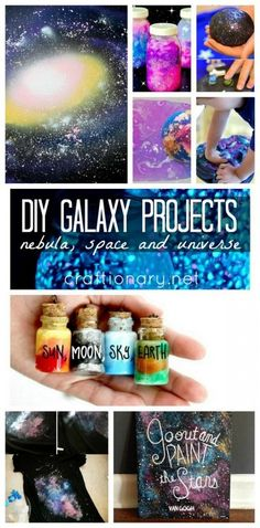 DIY Galaxy projects inspired by nebula, outer space, universe, constellations include ideas to make crafts for kids and adults like jars, home decor, slime