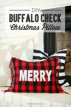 Buffalo Check Christmas Pillow - This is so cute and easy!