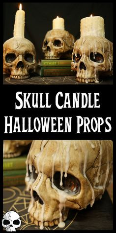Easy DIY Halloween Skull Candles : In this tutorial, learn how to make these DIY Halloween Skull Candle props for your Halloween decor! Super simple to make with just basic materials like a plastic skull, wood stain, superglue, and candles! Halloween Tags, Halloween Candles, Halloween Home Decor, Halloween Skull, Halloween Projects, Diy Halloween Decorations, Halloween House, Holidays Halloween, Voodoo Halloween