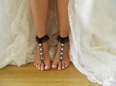 strass noir, cheville, strass mariage de plage sandales aux pieds nus