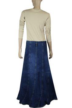 669dc94b317  Clove  Long Line  Patched  Blue  Denim  Jeans  Skirt