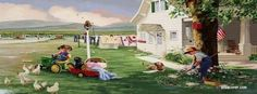MasterPieces Puzzles Country Chores Farmall Cub Tractor 1000 Piece Jigsaw Puzzle by Donald Zolan Raising Rabbits, Raising Bees, Artists For Kids, Art For Kids, Step Parenting, Illustrations, Fb Covers, Painting For Kids, Children Painting