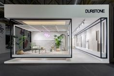 Durstone stand @ cersaie 2017 tile showroom, showroom design, trade show bo Flur Design, Hall Design, Shop Front Design, Store Design, Exhibition Stand Design, Exhibition Stall, Interior Design Exhibition, Exhibition Room, Design Stand