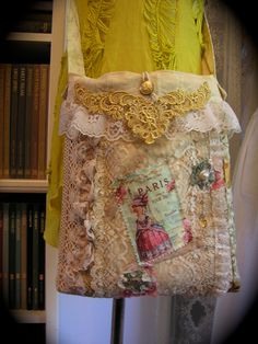 Chic Shabby Purse, french embellished, ruffled lace, antique white, mixed fabric bag. $115.00, via Etsy.