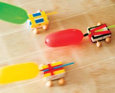 Air Powered Racers made from soap boxes & balloons. Make a fleet & race your buddies.