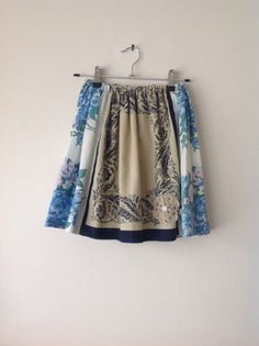 Childrens Handmade Girls Floral Blue Skirt.size 4 to 6 & 6 to 8.