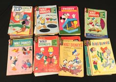 """Comics incl 10 cent """"Walter Lantz new funnies"""", 12 cent Bugs Bunny, Popeye the Sailor, Beetle Bailey, Walt Disney comics and stories, Ripley's Believe It or Not True Ghost Stories, Walt Disney's Escapade in Florence, Son of Flubber, and The Man From U.N.C.L.E., etc., 15 cent Tom and Jerry, Life with Archie, Harlem Globetrotters, Laugh, Tweety and Sylvester, Yogi Bear, Bullwinkle and Rocky, Walt Disney comics and stories, New Terrytoons, Magnus Robot Fighter 4000 A.D., Boris Karloff Tales of…"""