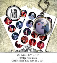 DISNEY VILLAINS Digital collage sheet 2,25 inch 2'' 1/4,craft supplies,printable,bottlecap,pendants,magnets,circles,party sticker,download on Etsy, $1.62