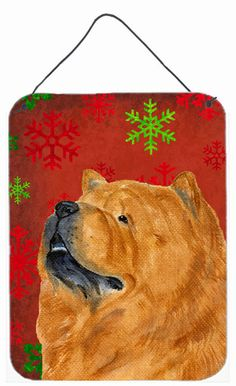 Chow Chow Red Snowflakes Holiday Christmas Wall or Door Hanging Prints