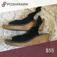 Espadrilles by Eric Michael...SALE! Beautiful black espadrilles by Eric Michael with bow on ankle. Worn once. Eric Michael Shoes Espadrilles